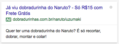 Dobradurinhas - AdWords - Naruto Ad